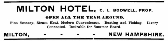 Milton Hotel Adv - 1902