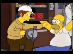 Homer Holding on to the Can