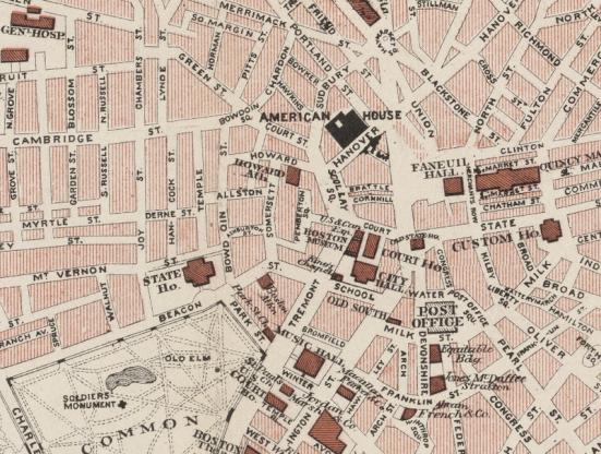 Walker Map, Boston, 1883, w American House