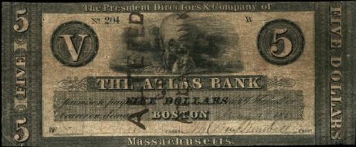 Atlas Bank Five Dollar Note of 1862