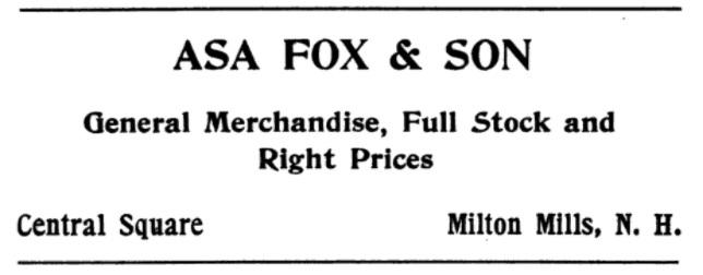 Asa Fox & Son - 1907