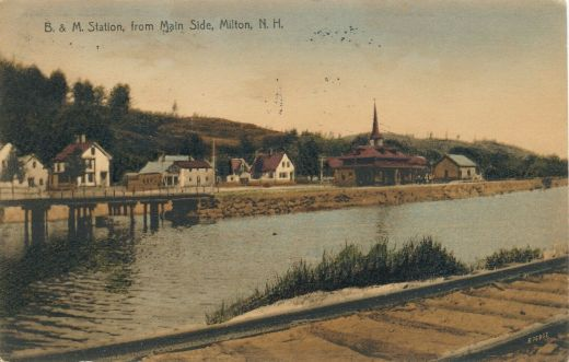 B&M RR Station from Maine Side - 1909