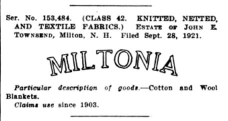 Miltonia Mills Trademark - 1921